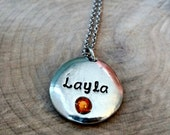 Personalized Name and Birthstone Necklace, Hand stamped birthstone necklace, Mother's necklace, personalized Gift for Mom, Grandma necklace
