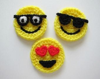"""1pc 3"""" Crochet  EMOJI Applique"""