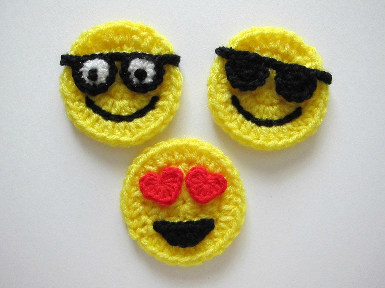 Crocheting Emoji : 1pc 3 Crochet EMOJI Applique by PinkMeStudio on Etsy
