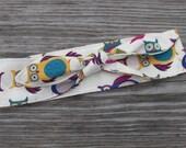 Rosie Wrap Rockabilly Headband Owl Hair Tie Dolly Bow Retro Headband Owl Fabric Headband Owl Bandana