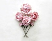 Blush Pink Paper Flower Bobby Pins Set of 6. Dusty Rose Hair Pin Set. Pink Flower Clips. Bridal Clip Set. Paper Flowers for Rustic Wedding.