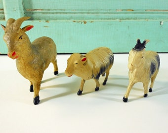 Vintage Celluloid Farm Animals Ram and Two Goats Made in Japan