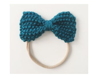 Knit Bow on Elastic band for Babies, Dark Teal Knit Bow Headband