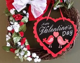 """Red and White Valentine Wreath- 20-22 """" across"""