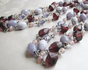 Mauve and Purple Necklace - Vintage Necklace - Statement Necklace