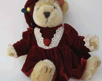 Pearl Bear of Wealth from The Brass Button Collectibles with original brass button - Pickford Bears LtdCollectible Dressed Teddy Bear