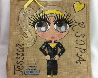 Handpainted Personalised Girls Dance Gym Club Group Jute Ballet Bridesmaid Handbag Gift Party Bag Celebrity Style