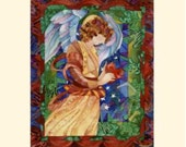 Gift sized angel print with mat