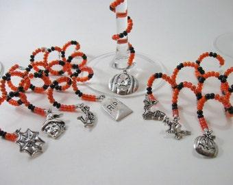 Orange & Black Halloween Beaded Spiral Wine Glass Charms 8 Piece Set
