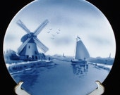 Antique Delft Plate Windmill Canal Blue And White 1890s Charger Hand Painted Holland