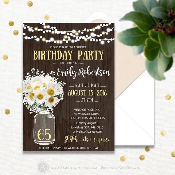surprise birthday invitations printable mason jar  u0026 daisy