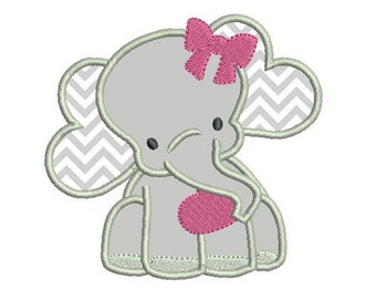 Girl Elephant Applique Embroidery Design - Instant Download