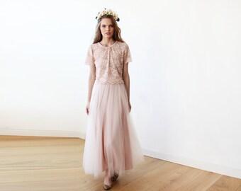Tulle maxi pink blush bridesmaids skirt, Maxi tulle blush skirt