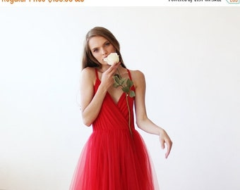 Red straps wrap tulle maxi gown, Tulle maxi red strap gown