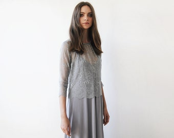 Grey lace , long sleeves top, Lace top, Sheer grey lace blouse 2024