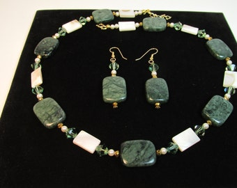MARBLE Green Necklace Set Swarovski Crystals Swarovski Pearls  Mother of Pearl Gold Fill Beads