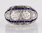 Antique Engagement Ring - Antique Art Deco 1920s Platinum Diamond and Sapphire Ring