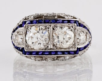 Antique Engagement Ring - Antique Art Deco 1920s Platinum 3.18ctw Diamond and Sapphire Ring