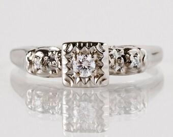 Vintage Engagement Ring - Vintage 1940s 14k White Gold Diamond Engagement Ring