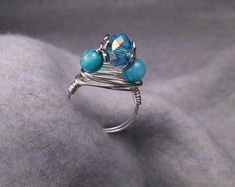 BLUE CZECH Polished Faceted Rondelle Focal Bead, Shell Accents, Hand-Wrapped Wire Ring - Size 7.75