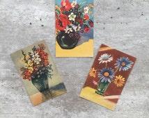 Postcards Floral , Norwegian Postcards, Set of Postcards, Scandinavian Postcards,  Retro Postcards, Flowers Postcards, Midcentury Cards
