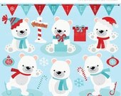 ON SALE - Christmas / Winter Polar Bears Clip Art / Digital Clipart - Instant Download (updated)