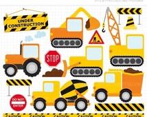 30% OFF - Clipart - Transportation / Yellow,Orange, Black / Construction Vehicles - Digital Clip Art (Instant Download)