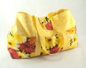 Medium Knitting Tote Bag - Fire Flowers