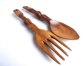 Vintage Mid Century Modern Tiki Fork and Spoon Wall Decor