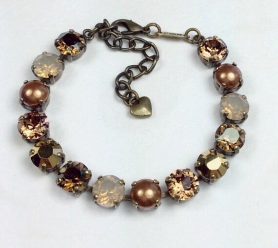 Swarovski Crystal 8.5mm Bracelet - Brandy, Cognac, Copper & Gold -  Designer Inspired- FREE SHIPPING