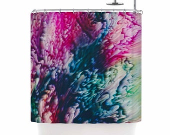 Shower Curtain, Shower Curtains, Pink and Blue Shower Curtain, Magenta, Green, Abstract Art, Home Decor, Painting, Splash, Art by Malia