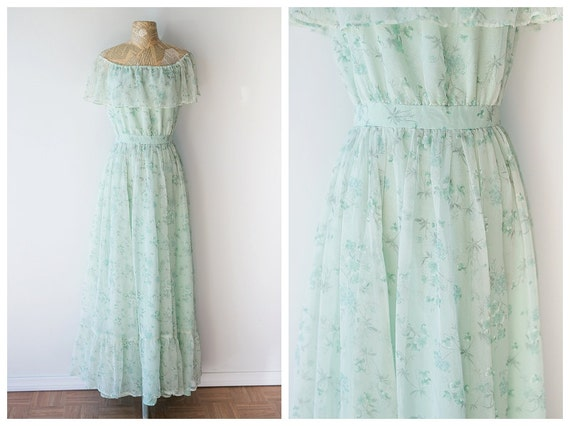 Mint Floral Maxi Dress - Vintage 1970's Bohemian Gown - Ethereal Vintage Gown - Pastel Off the Shoulder Dress - Size Small