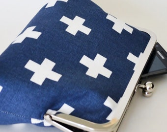 CLUTCH in Navy & White Swiss Crosses - LARGE