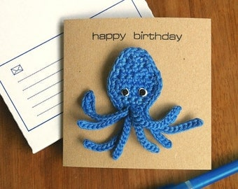 Octopus Card with Brooch / Octopus Badge / Octopus Birthday Card / Sealife Ocean Eco-friendly Birthday Card