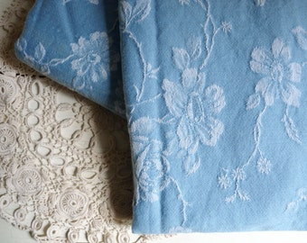 "Vintage FRENCH DAMASK TICKING, Clear Blue with a White Floral Pattern. long 95cm x wide 155cm or long 37.4 "" x wide 61 ""."
