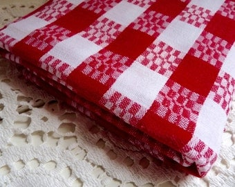 Vintage French PICNIC TABLE CLOTH, Red  and White Checked Table Linen, Gingham Fabric, Soft Mid Weight Cotton.
