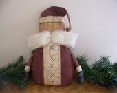 Primitive Grungy Santa Claus Fabric Art Doll/Shelf Sitter