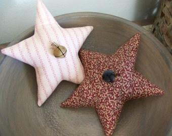 Set Of 2 Primitive Star Bowl Fillers/Tucks Red Civil War Reproduction Fabric