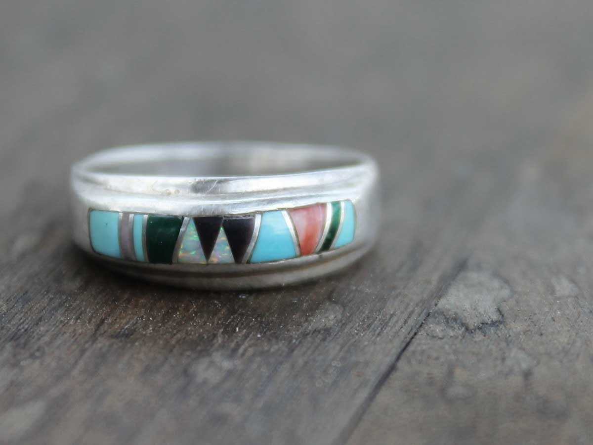 Zuni Inlay Ring Sterling Silver Old Pawn Vintage Layering