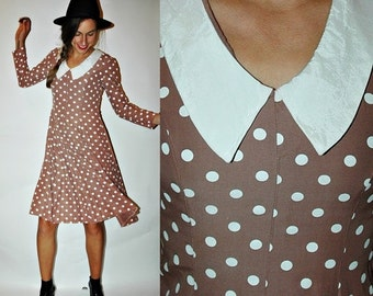 SHOP IS AWAY 1970s Mocha Brown Polka Dot Dress with Collar