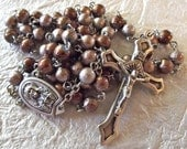 Brown Sacred Heart Catholic Rosary