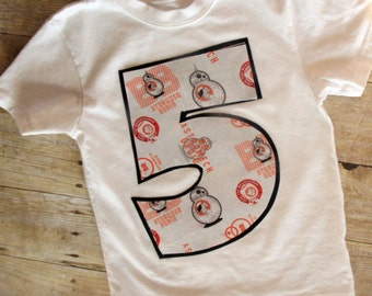 Boys Custom BB8 Star Wars Birthday Number Shirt