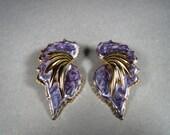 Large 1980s Purple Enamel and Gold Tone Earrings for Pierced Ears