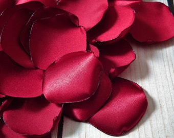 CRIMSON satin rose petals, for wedding aisle, reception decor, 40th ruby anniversary, or romantic date night - ready to ship