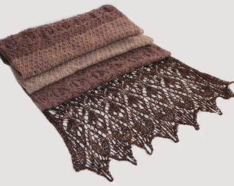 Cashmere delicate lace scarf-stole;  color: chocolate truffle