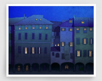 Italian facade (night version) - Italy illustration Art Home Wall decor Print Poster Drawing Architectural drawing Travel poster Blue Houses