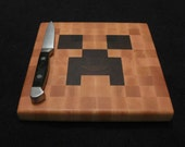 Minecraft Creeper - Cheese Board / Trivet - Wood Pixel Art