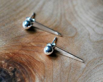 Silver spike earring jackets - sterling pyramid spike back earring stud - silver ball reverse edgy celebrity inspired modern jewelry - soho