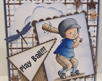 Handmade All Occasion card for boy play ball