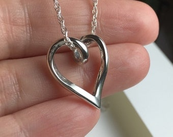 Heart Necklace, Sterling Silver Heart Necklace. Floating Heart Necklace